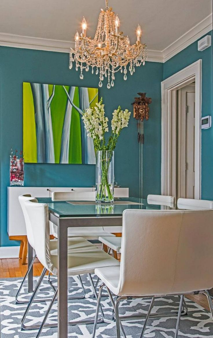 Dramatic Dining Room Walls Pop With Newly Acquired Artwork By Local Artist Elizabeth Berkshire Bradleys