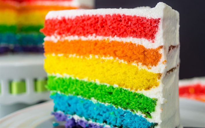 Descargar fondos de pantalla Pastel de cumpleaños, de colores pastel, pastel de arco iris, dulces, pasteles, feliz cumpleaños