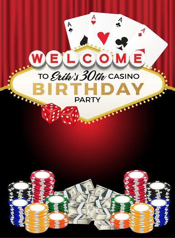 Custom Casino Las Vegas Birthday Celebration Backdrop
