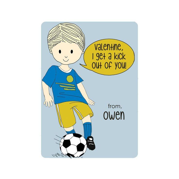 Soccer Boy Valentineu0027s Day Cards