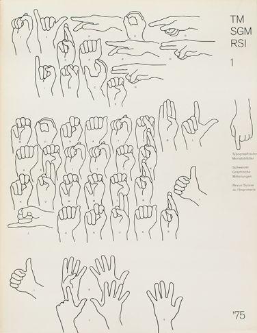Cover from 1975 issue 1 (Cover Design: Heinrich Fleischhacker) Illustration using Fingerspelling (dactylology).