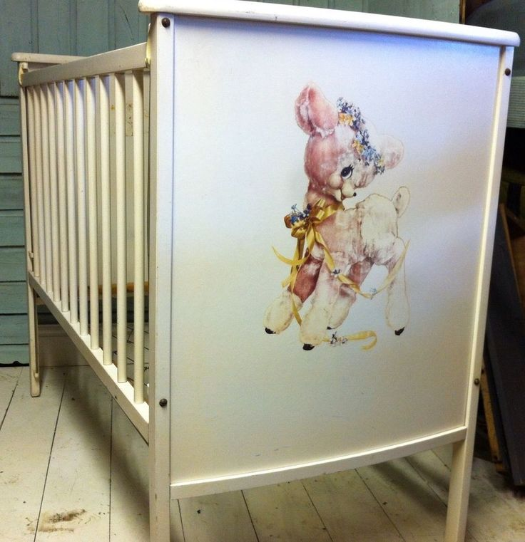 retro baby furniture. baby bed w decals retro furniture a