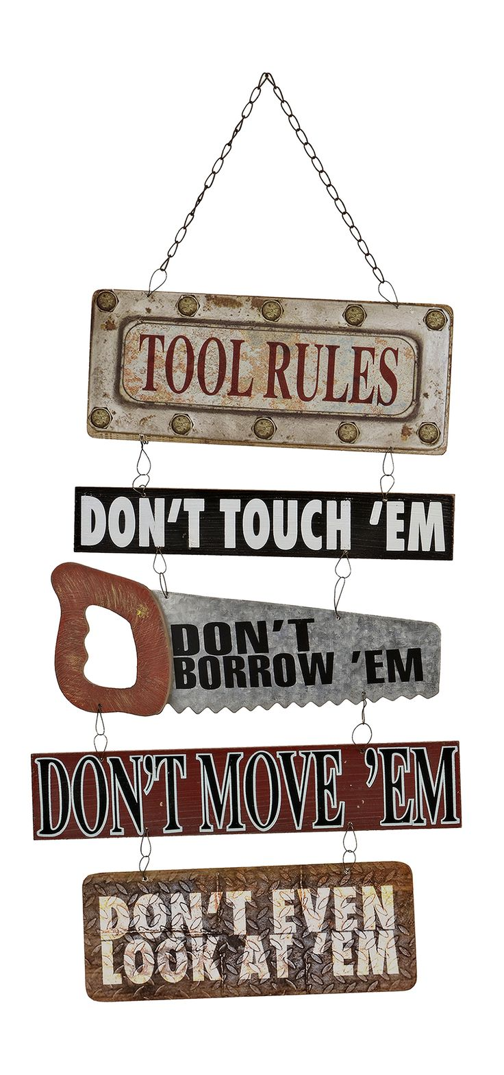Shop novelty wall decor he'll love this season at Kirkland's! The 'Tool Rules Plaque' is perfect for the handyman in your life.