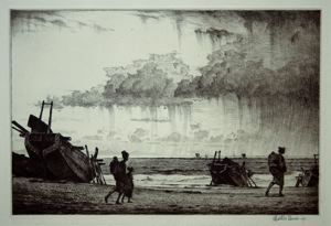 Showers on the Bay, Martin Lewis, 1925, drypoint, 7 7/8 in. x 11 3/4 in. Currier Museum of Art.
