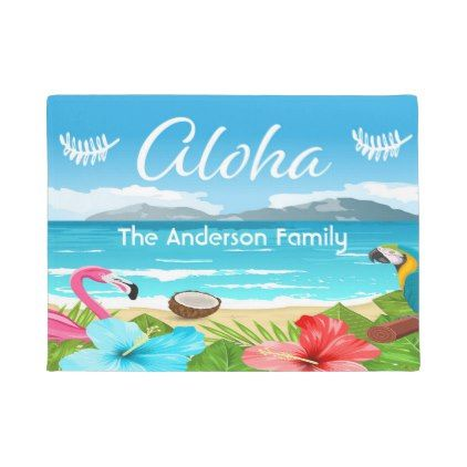 Aloha tropical beach with flamingo and flowers doormat - flowers floral flower design unique style