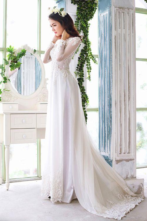 Ao Dai White Lace Wedding Dress Viet