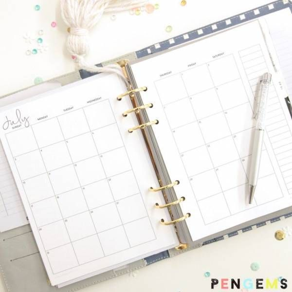 Free A5 Planner printables from Pen Gems
