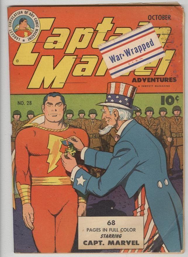 Captain Marvel 28 October 1943 Vg War Cover Comic Book Carnival