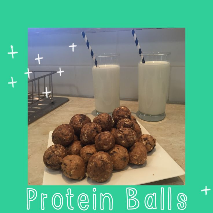 Healthy protein balls. A perfect little snack & so easy to make. Just mix honey, peanut butter, rolled oats, protein powder & dark choc chips together with a tiny bit of water. Roll & refrigerate. Super yummy!!