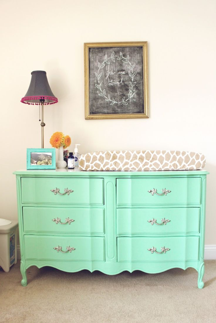 love this idea for a changing table. Pretty and so much more functional with all those drawers. Plus, you can still use in their rooms when the kids get older!