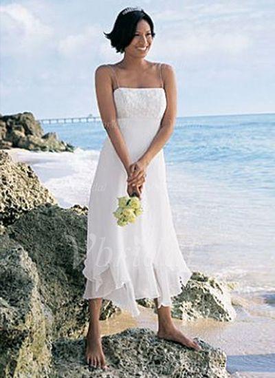 Wedding Dresses - $142.99 - Empire Asymmetrical Chiffon Wedding Dress With Lace Cascading Ruffles (00205000009)