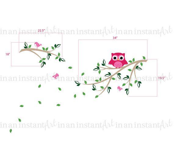 {CA. MATEN}  Kleine tak: 22.5 breed Grote tak 34 breed  Uil is 8 TALL  Wat is inbegrepen: ~ Test Decal ~ 2 takken ~ 70 bladeren ~ 1 uil ~ 3 vogels  {KLEUREN KIEZEN}  Gelieve het Kleurenoverzicht in de aanbieding te bekijken, gebruik de pijlen in de bovenstaande afbeelding om de schuifbalk of klik op de afbeelding onder de afbeelding.  Bij het afrekenen, ziet u een nota aan In een oogwenk kunst vak waar u in uw kleur keuzes uit de grafiek typen kunt.  Als u geen kleur keuzes niet zetten…