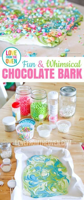 Fun, whimsical and incredibly easy chocolate candy bark.i think could be cool as a party activity... then the kids could take home instead of party bags!!