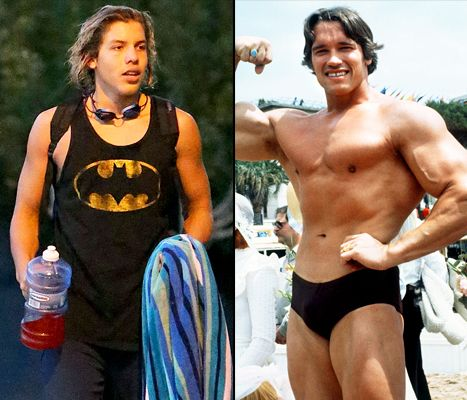 As a boy, Schwarzenegger played several sports, heavily influenced by his father. Above is Arnold's son, Joseph Schwarzenegger.