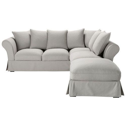 Divano angolare trasformabile a 6 posti in cotone grigio chiaro