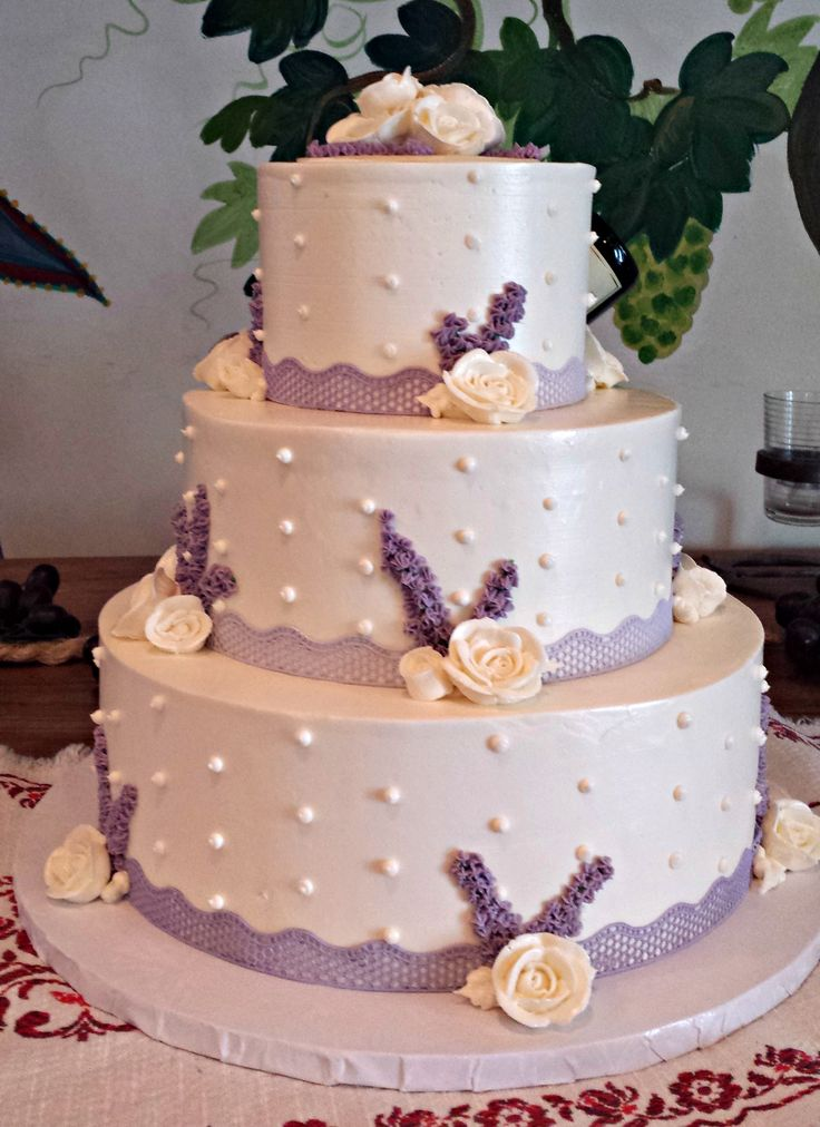 wedding cakes los angeles prices%0A Gluten Free Wedding Cake with Purple Sugar Veil Lace  Buttercream White  Roses  and Piped