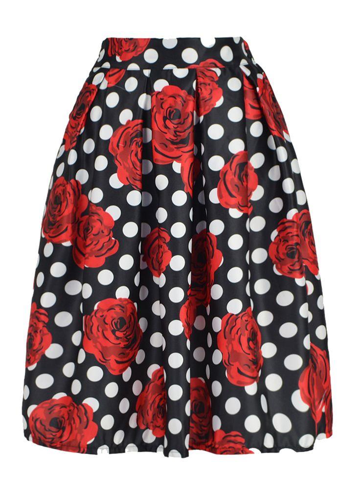 Black Skirt With Red Rose Ane Polka Dot Print
