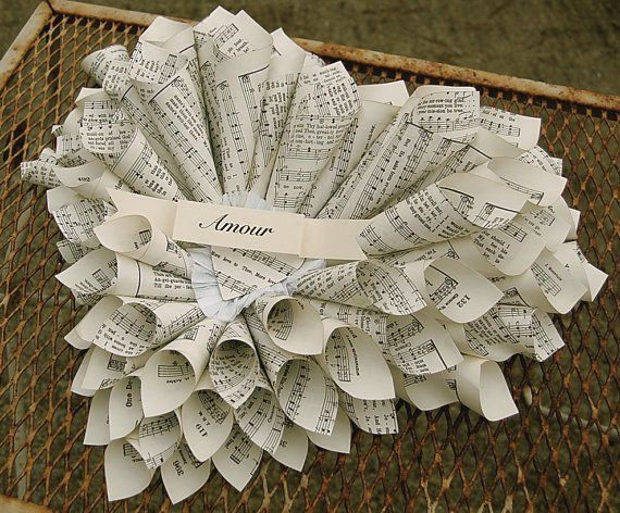 Heart shaped sheet music wreath: Dishfunct Design, Upcycled Sheet, Paper Wreaths, Heart Wreaths, Music Wreaths, Sheet Music Crafts, Unique Art, Music Sheet, Paper Crafts