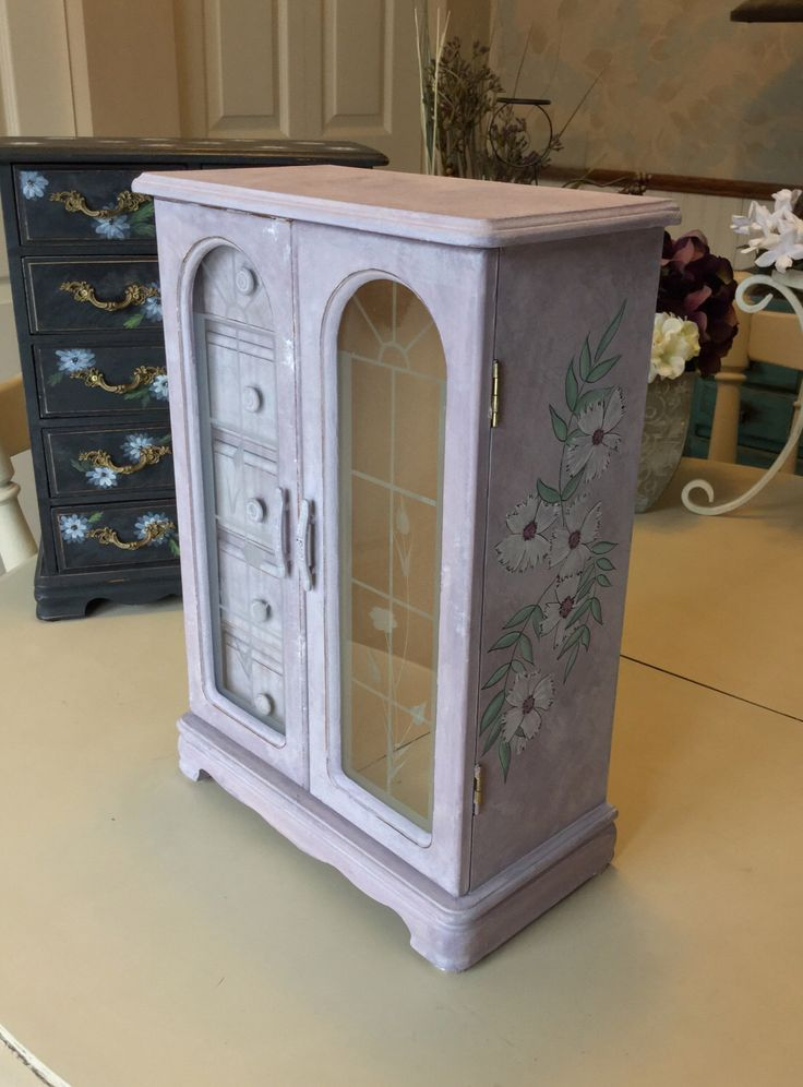 Painted Vintage Jewelry Box / OOAK Shabby Chic Jewelry Armoire / Wood Jewelry Box by ByeByBirdieDesigns on Etsy https://www.etsy.com/listing/495835494/painted-vintage-jewelry-box-ooak-shabby