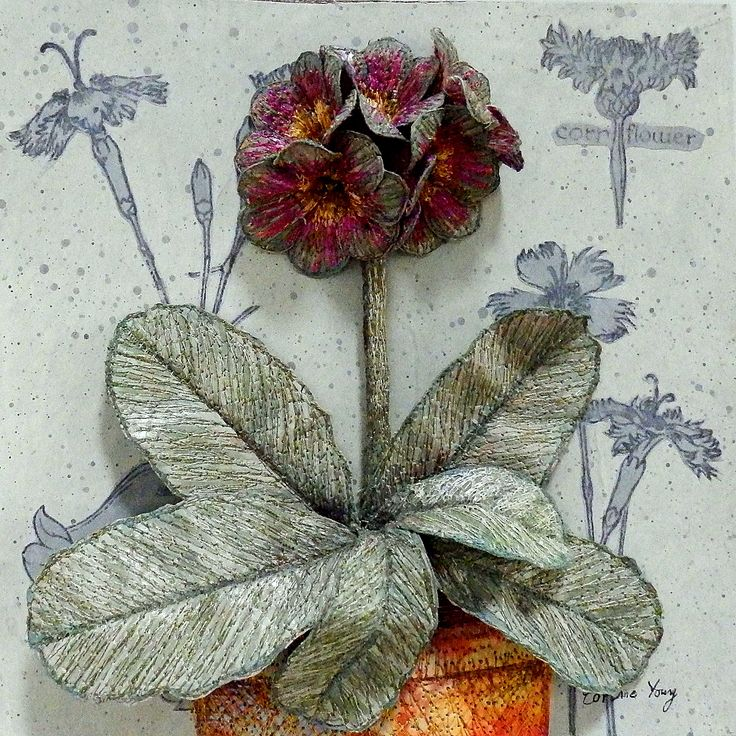 Auricula 'Flemish Floozy' - Botanical Textile Art by Corinne Young