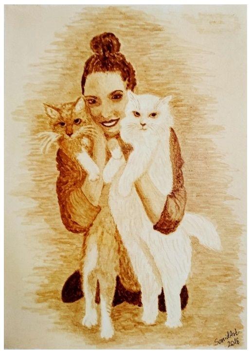 Coffee painting - Cica szerelem - Cat love - Katzen-Liebe #cica #állatbarát #cat #pet #love #petfriendly #tierfreundlich #kätzchen #liebe #katzen-Liebe #sanidart #kave #kavefestmeny #coffee #coffeepainting #kaffee #kaffeemalerei