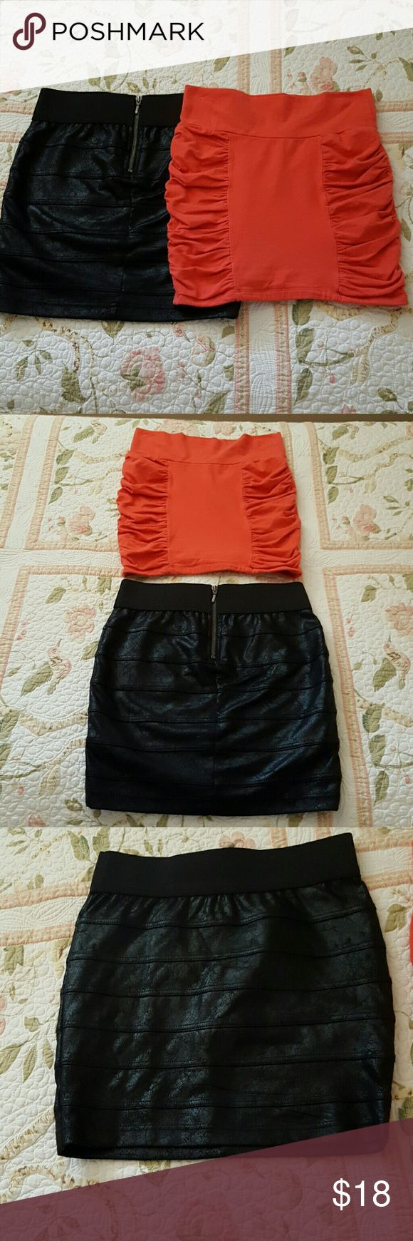 Fabulous Mini Skirts Bundle! Both Charlotte Russe size small fabulous form fitting and looking like brand new! Both great designs, black with front zipper and distressed leather look! Black has 28 inch elastic waist. 16 inch length. Orange is a stretch fit in it with a 27 inch waist. 14 inch length. Polyester spandex blend and cotton spandex blend. Awesome look and awesome price! Charlotte Russe  Skirts Mini