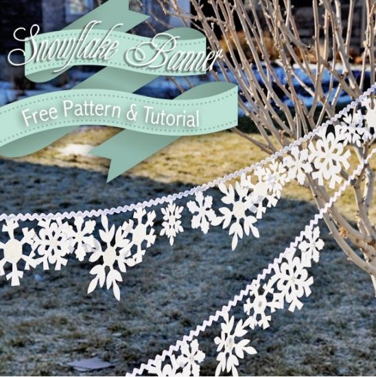 DIY Elegant Snowflake Banner Tutorial and Pattern! Perfect for an indoor winter wonderland this Christmas.