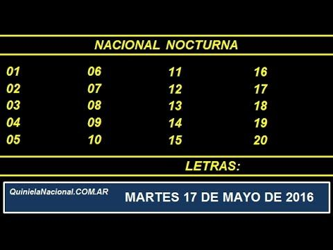 Quiniela Nacional Nocturna Martes 17 de Mayo de 2016 www.quinielanacional.com.ar