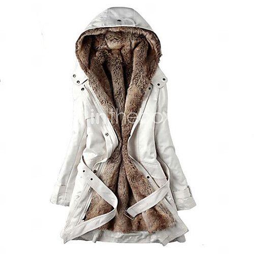 Manteau Parka Femme,Normal Grandes Tailles Mosaïque-Coton / Autres Manches Longues Beige / Noir / Vert Capuche de 2016 ? €35.27