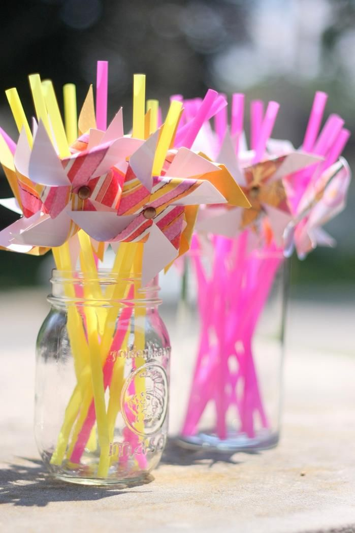 Pinwheel Straw Toppers at a Pink Lemonade and Pinwheels. So cute and could be done in advance for the smoothie bar!