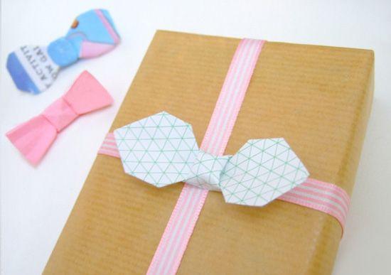 paperfolding bowties topper  DIY paper folding origami bow tie tutorial: packaging hurrah!