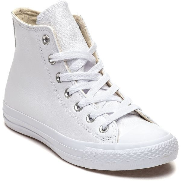 CONVERSE WOMEN'S Chuck Taylor All Star Sneaker White Leather (220 BRL) ❤ liked on Polyvore featuring shoes, sneakers, white leather, high top wedge sneakers, leather high top sneakers, wedge heel sneakers, white high tops and converse shoes
