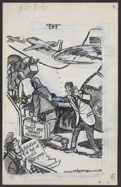 herblock political cartoon The herblock award for editorial cartoon, underwritten by the herb block  foundation, provides three students who exhibit excellence in editorial cartoons  with.