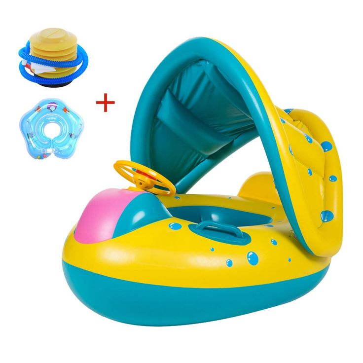 Superior Baby Float With Canopy Swim Ring Sunshade Seat Inflatable Boat Pool Baby  Neck Swimming Ring With Air Pump. The Baby Pool Boat Is Made Of  Eco Friendly PVC ...