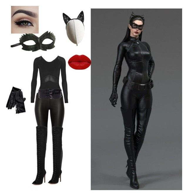 """The dark knight rises(catwoman)outfit"" by natalierami on Polyvore featuring Maschera, Heather Huey, Ivy Park, The Row, WithChic, Tommy Hilfiger, Winky Lux and Burberry"