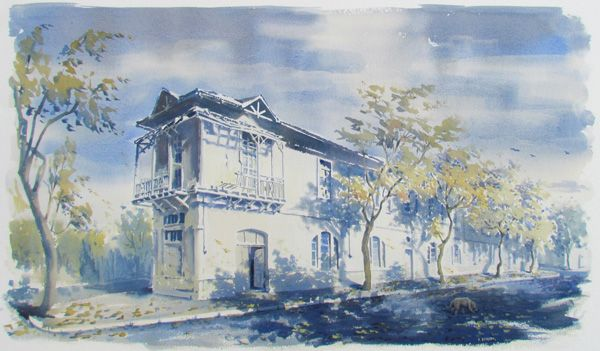 Acuarela. Casa Santiago. Chile.