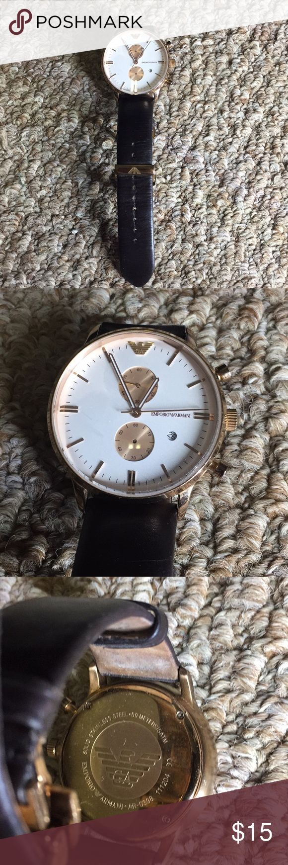 EMPORIO ARMANI Gold/White/Brown Mens Watch Leather EMPORIO ARMANI Watch Gold/White/Brown Men's Leather Band Works New Battery 4/10 Condition Hard to clasp. Hand on bottom dial missing? Worn Glass clean, minus a few scuffs.  *Please double check photos before purchase.*  Check my closet for similar styles. Emporio Armani Accessories Watches