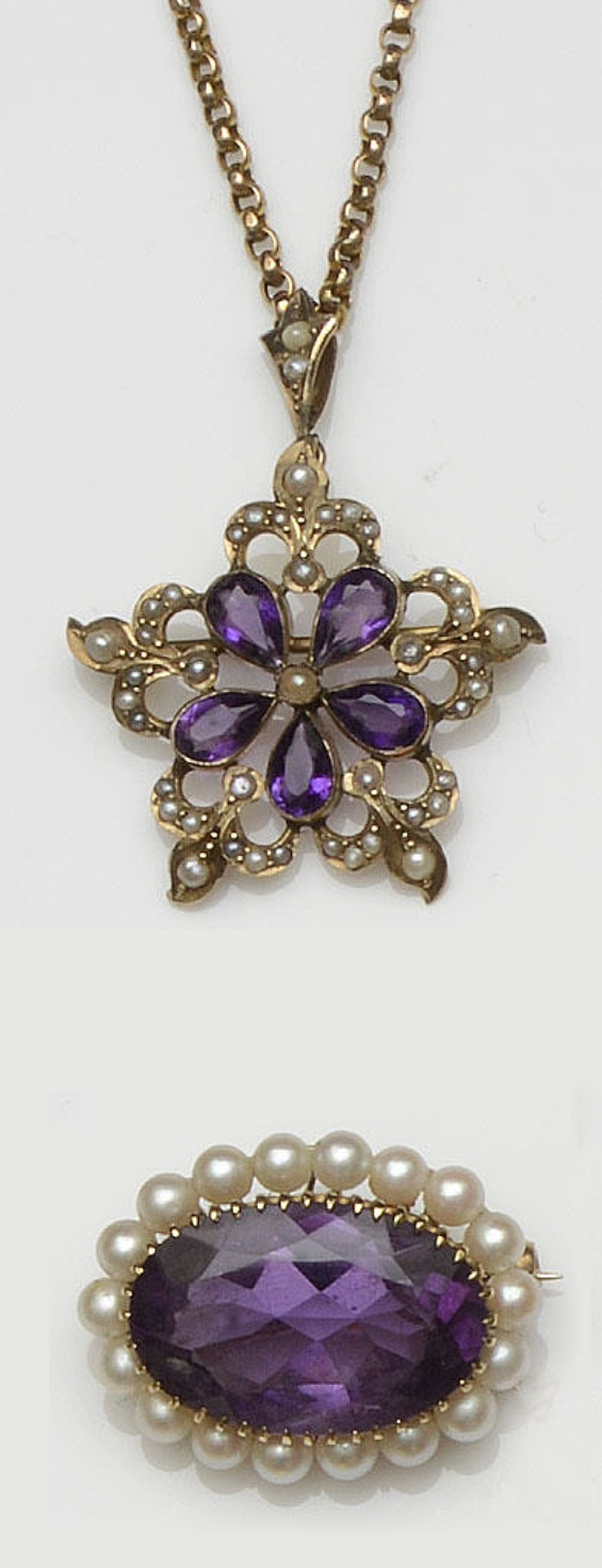 A late Victorian gold amethyst and seed pearl brooch/pendant on chain and an amethyst brooch  The pendant centred with a five petal amethyst flowerhead, within seed pearl detail, reverse stamped '9ct', on a Victorian 9ct gold chain, together with a [Victorian style]  amethyst and cultured pearl oval cluster brooch/pendant, 9ct gold mounted, hallmarked for London 1978, pendant length (including bale) 4cm, brooch length 2.8cm
