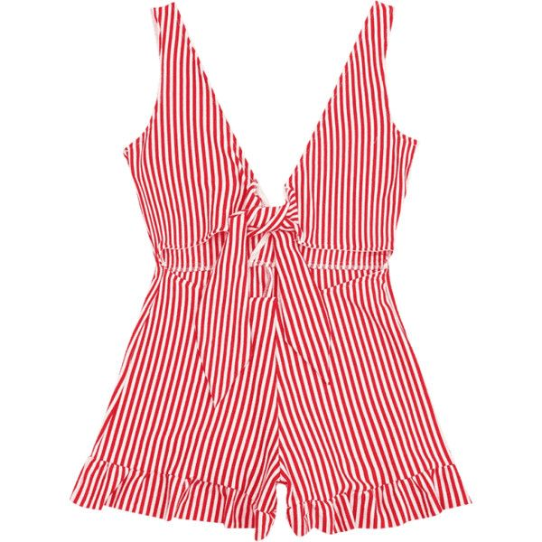 Bowknot Stripes Cut Out Romper ($16) ❤ liked on Polyvore featuring jumpsuits, rompers, striped jumpsuit, red jump suit, stripe romper, playsuit jumpsuit and cutout romper