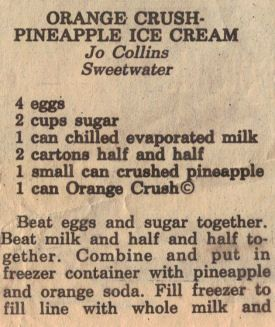 Homemade Orange Crush-Pineapple Ice Cream Recipe- Love this stuff!