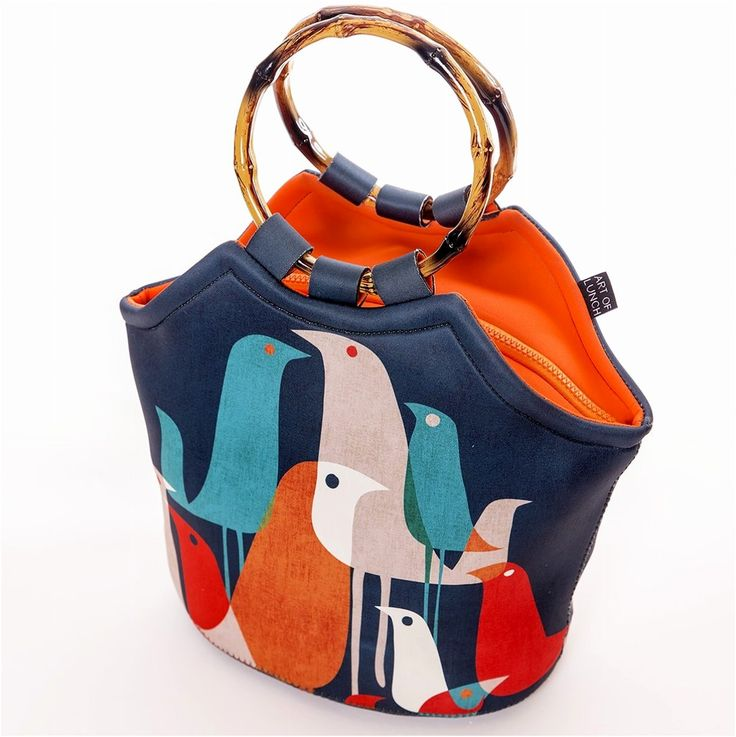 Designer Lunch Bags for Women Stylish Fashion Cool Tote Bag Insulated Gift Birds #ArtofLunch