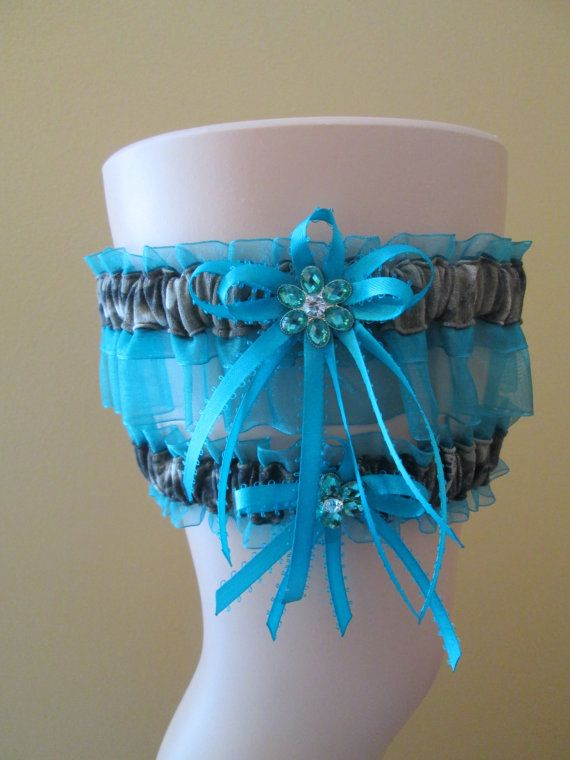 REAL TREE CAMO Wedding Garter Set Teal Prom by GibsonGirlGarters