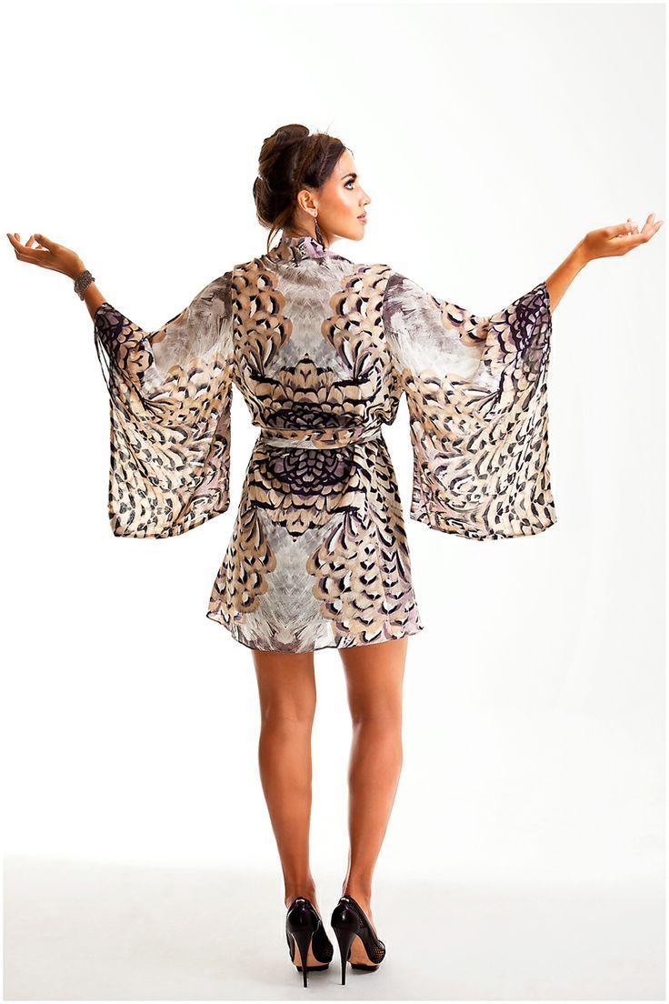 NV custom print Kimono in silk...