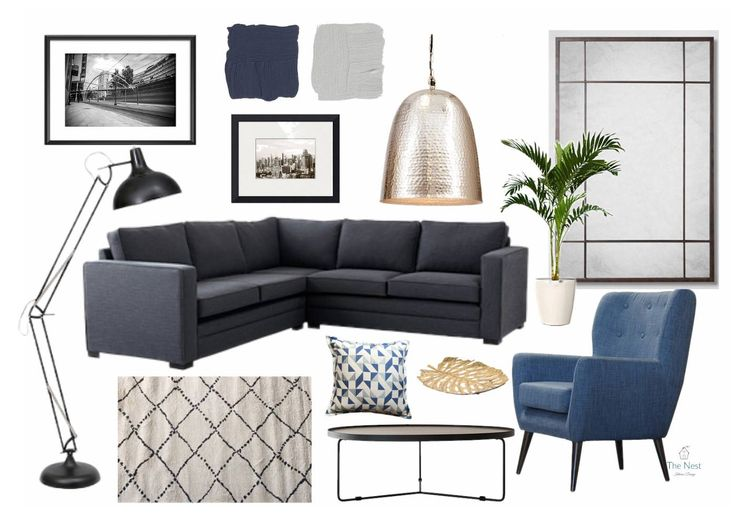 Design concept for blue and brass living room.