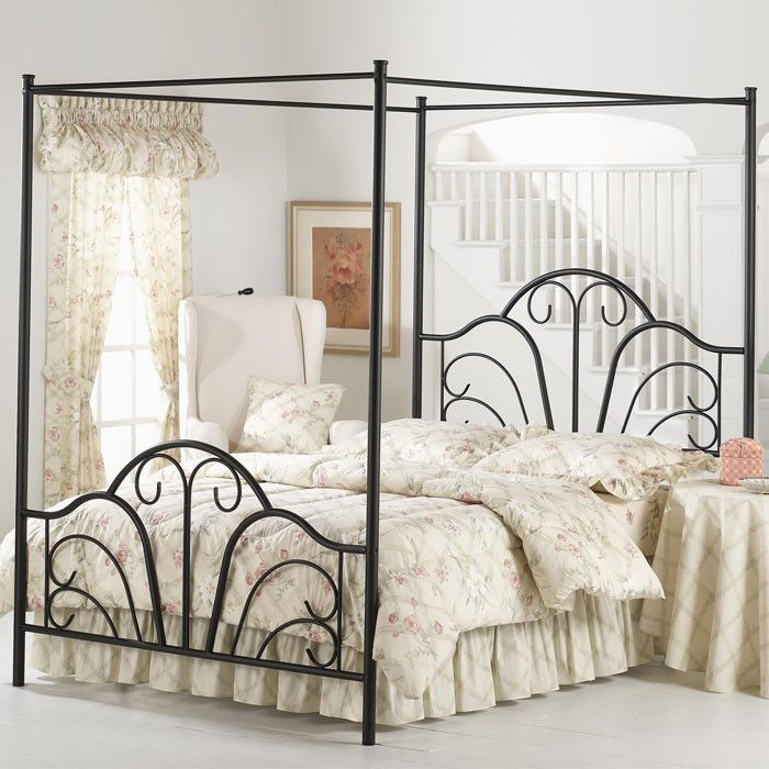 Best Full Size Matte Black Metal Canopy Bed With Scroll Design 640 x 480