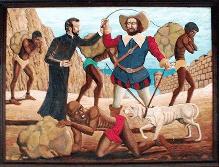 PEDRO CLAVER (S.J.) aliviando la situación de los esclavos y su miseria; de los pocos que consideraba al NEGRO con alma. Las iglesias que se separaban de ROMA y aún la católica, apoyaban la esclavitud por esta posición teológica.