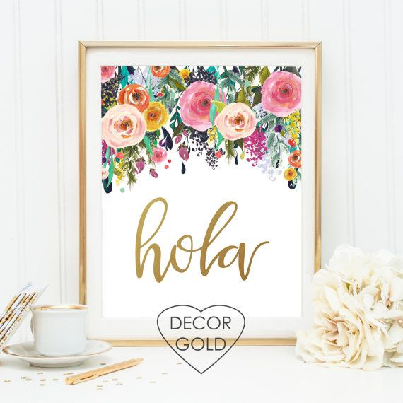 hola spanish hello saying quote gold foil print sign by DecorGold
