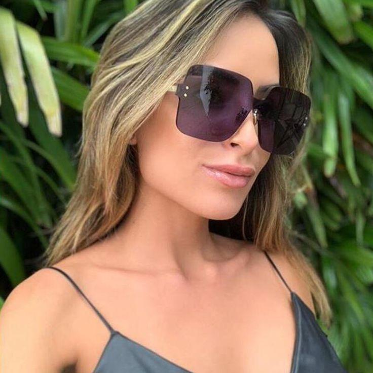 MEGA ANGEBOT -50%   Randlose Übergroßen Sonnenbrille Frauen Braun Square Luxury damen sonnenb…