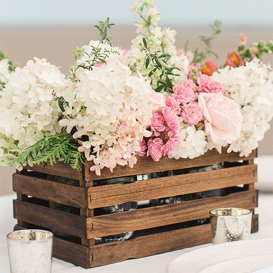 Make your own centerpieces using paint stir sticks! Instructions: http://www.bhg.com/wedding/planning/pinterest-wedding-ideas/?socsrc=bhgpin042915paintstickbasket