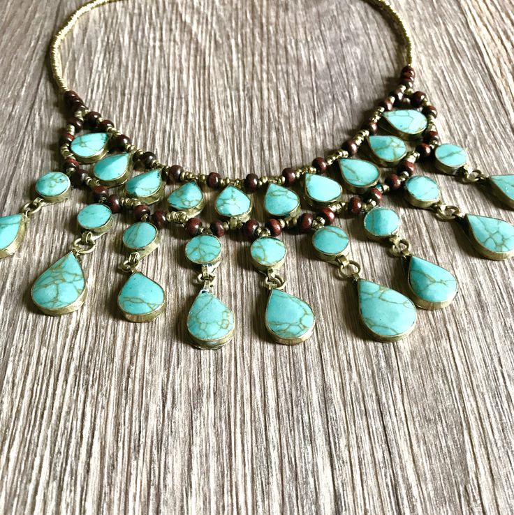 A personal favourite from my Etsy shop https://www.etsy.com/au/listing/565811779/turquoise-tribal-necklace-turquoise